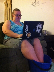 Hubby took a picture of me soaking my feet while working on my blog