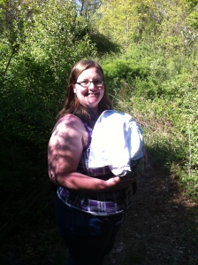 On a hike babywearing Peanut. She fell asleep and the sun was in her eyes so I covered her with a receiving blanket