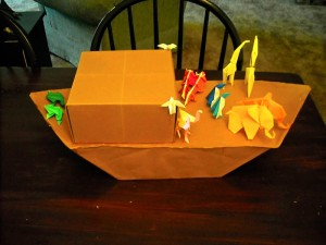 I made my friend, Heather, an complete origami noah's ark for her baby shower. Even the boat is made with origami.