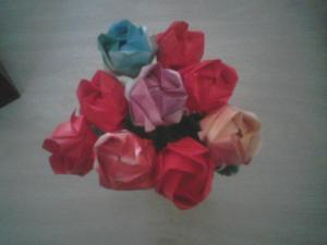 This is the top view of a vase of origami roses. The picture was taken with my old phone so it's pretty blurry