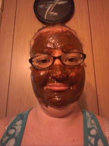 A picture of me with the face mask. I know it's not a pretty picture! Haha! But it really made my skin feel awesome!