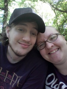 Hubby and I sitting on a bench for a water break. I love him!