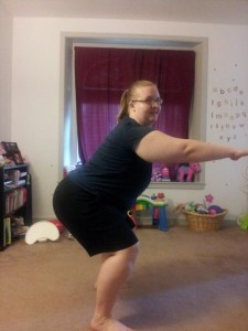 Hubby took a picture of me squatting. I was halfway up by the time he took it LOL