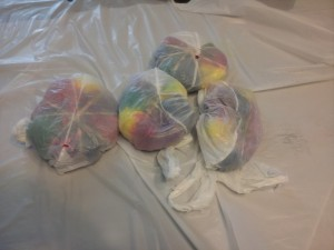 Wrap up all the shirts in plastic wrap. I was apparently out of plastic wrap so I used grocery bags.