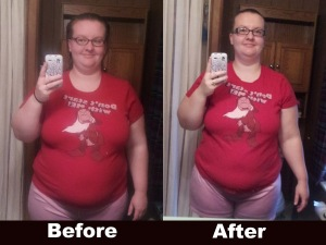 Front View of my before and after losing 20 pounds.